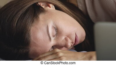 Tired overworked employee businesswoman fallen asleep at ...