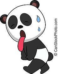 Tired panda, illustration, vector on white background.