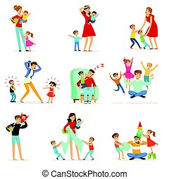 Tired parents and their children set, parenting stress ...