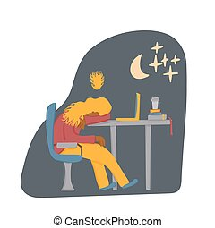 Tired person sitting and sleeping. Vector design.