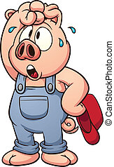Tired pig - Tired cartoon pig. Vector clip art illustration...