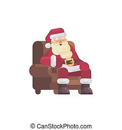 Tired Santa Claus sleeping in an armchair after delivering the presents. Christmas character flat illustration