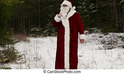 Tired Santa Claus with back pain