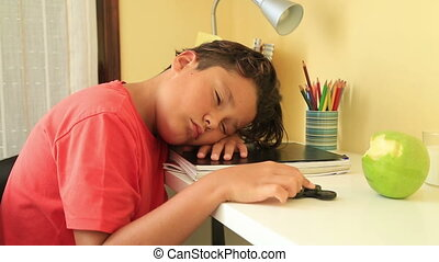 Bored schoolboy sleeping on study desk