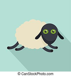 Tired sheep icon, flat style
