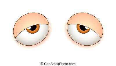 Tired Sleepy Eyes - Lazy Sleepy Cartoon Comic Eyes Vector...