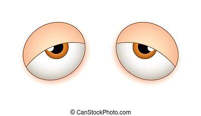 Tired Sleepy Eyes - Lazy Sleepy Cartoon Comic Eyes Vector...