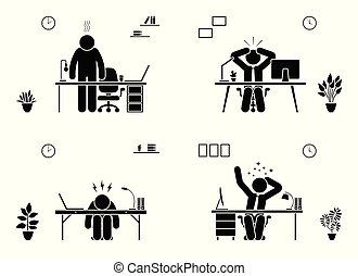 Tired, stressed, unhappy, bored stick figure man office vector icon set