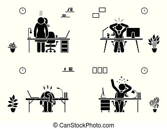 Tired, stressed, unhappy, bored stick figure woman office vector icon set