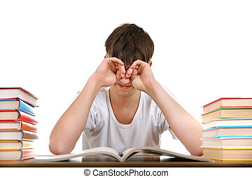 Tired Student Rub his Eyes Isolated on the White Background