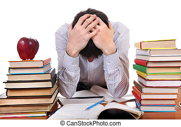 Tired Student - Sad and Tired Student at the School Desk on...