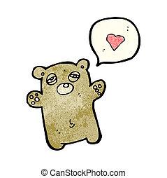 tired teddy bear with love heart