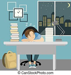 Tired teenager boy sleep at the table with books