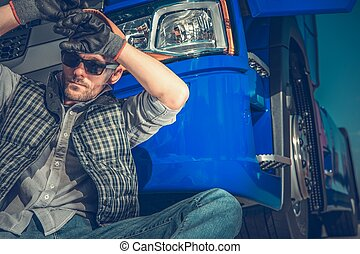 Tired Truck Driver Resting