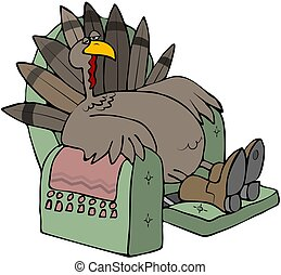 Tired Turkey In A Recliner - This illustration depicts a...