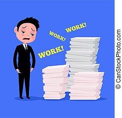 Tired unhappy office worker man character. Hard work. Vector flat cartoon illustration