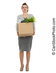 Tired woman employee dragging box with personal items