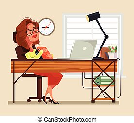 Tired woman office worker character sleeping on workplace. Vector flat cartoon illustration