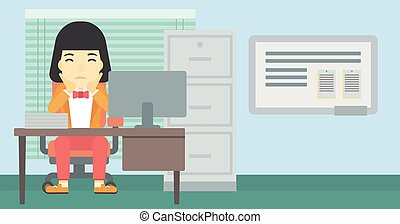 Tired woman sitting in office vector illustration. - A tired...