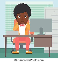 Tired woman sitting in office vector illustration. - An...