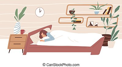Tired woman sleeping in comfortable bed under blanket in bedroom. Person dreaming in cozy room. Bedtime concept. Colored flat vector illustration of sleepy human isolated on white background