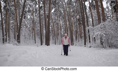 Tired woman trying to make a final effort before leaving the snowy woods and relax. wearing warm, keep in nature. In the forest grow spruce, pine, birch other trees
