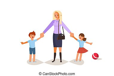 Tired woman with capricious children