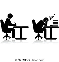 Illustration icons showing an office worker writing and another one tired and sleeping