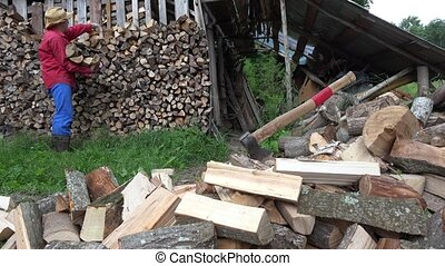 tired worker man put wood in ordered row in country...