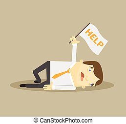 Tired worker. Vector flat illustration