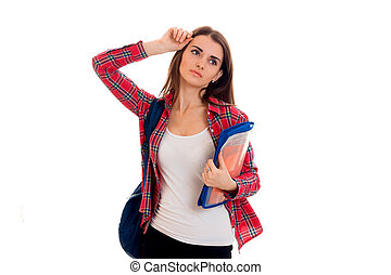 tired young brunette student girl with blue backpack isolated on white background