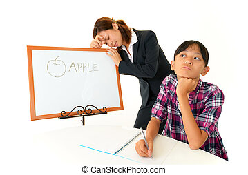 Tired young girl with teacher