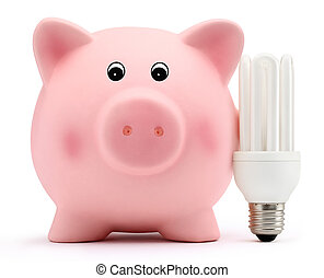 tirelire, à, énergie, économie, lampe