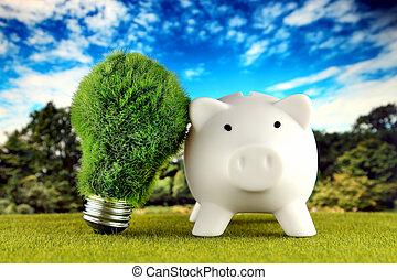 tirelire, et, vert, eco, ampoule, à, herbe, bleu, ciel, arrière-plan., renouvelable, energy., électricité, prix, énergie, économie, dans, les, household.