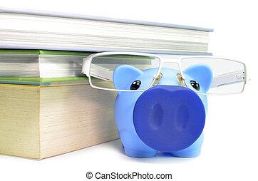 tirelire, lunettes, et, pile livres