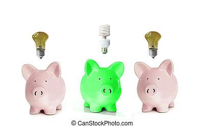 tirelires, à, lumière, bulbs., une, green.