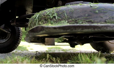 Tires and engines of the lawn mower