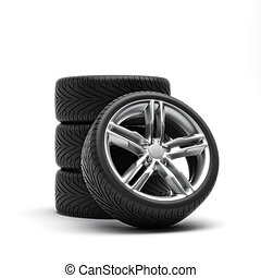 Tires and rims ,automobile wheels on a white background