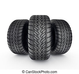 tires - black tyres isolated on a white background