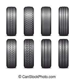 Tires - Collection of tires on a white background