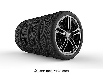 Tires - Four tires formation isolated on a white background