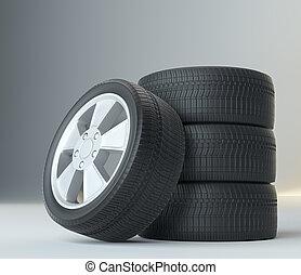 tires, grijs, studio, achtergrond, auto