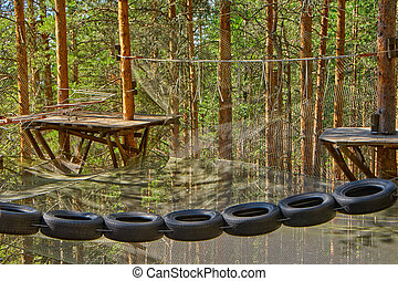 Tires hanging in rope park in a pine forest