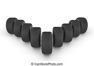 Tires in perspective on white background