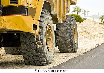 Tires of a dump truck
