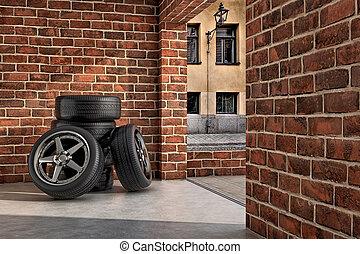 Tires on the garage - Several tires inside a garage