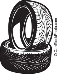 Tires - This is a vector graphic of a couple of automobile...