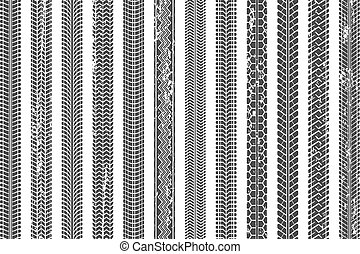 Tires tread tracks. Dirty tire track, grunge texture treads pattern and truck car trace vector illustration set