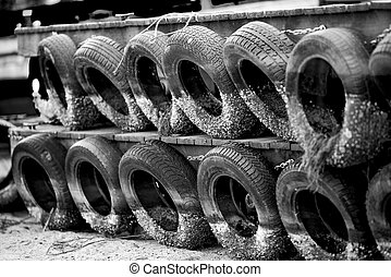 Tires with marine fouling and clams
