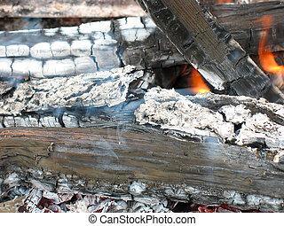 tirez bois, closeup, journaux bord, brûlé